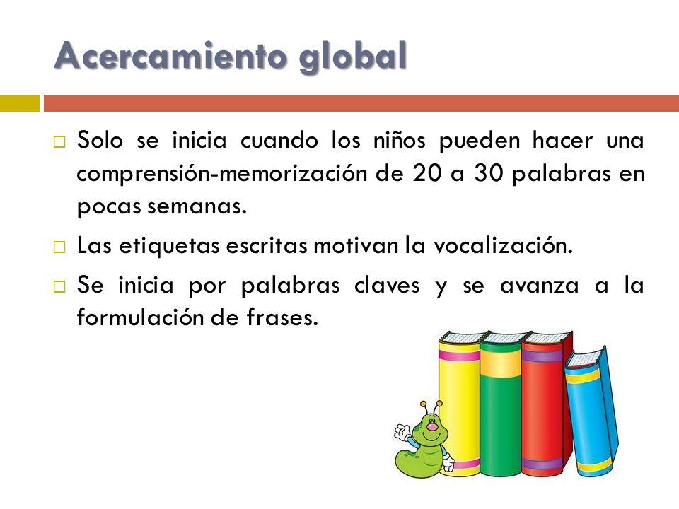 Acercamiento global Solo se inicia cuando los niños pueden hacer una comprensión-memorización de 20 a 30 palabras en pocas semanas. Las etiquetas escr