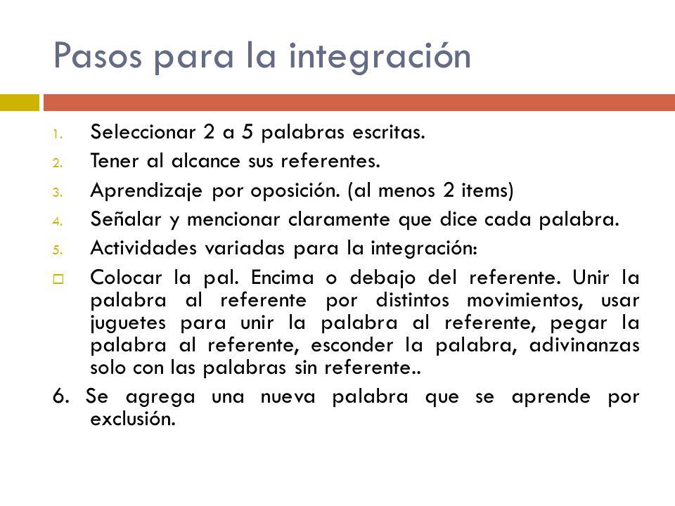 Pasos para la integración 1. Seleccionar 2 a 5 palabras escritas. 2. Tener al alcance sus referentes. 3. Aprendizaje por oposición. (al menos 2 items)
