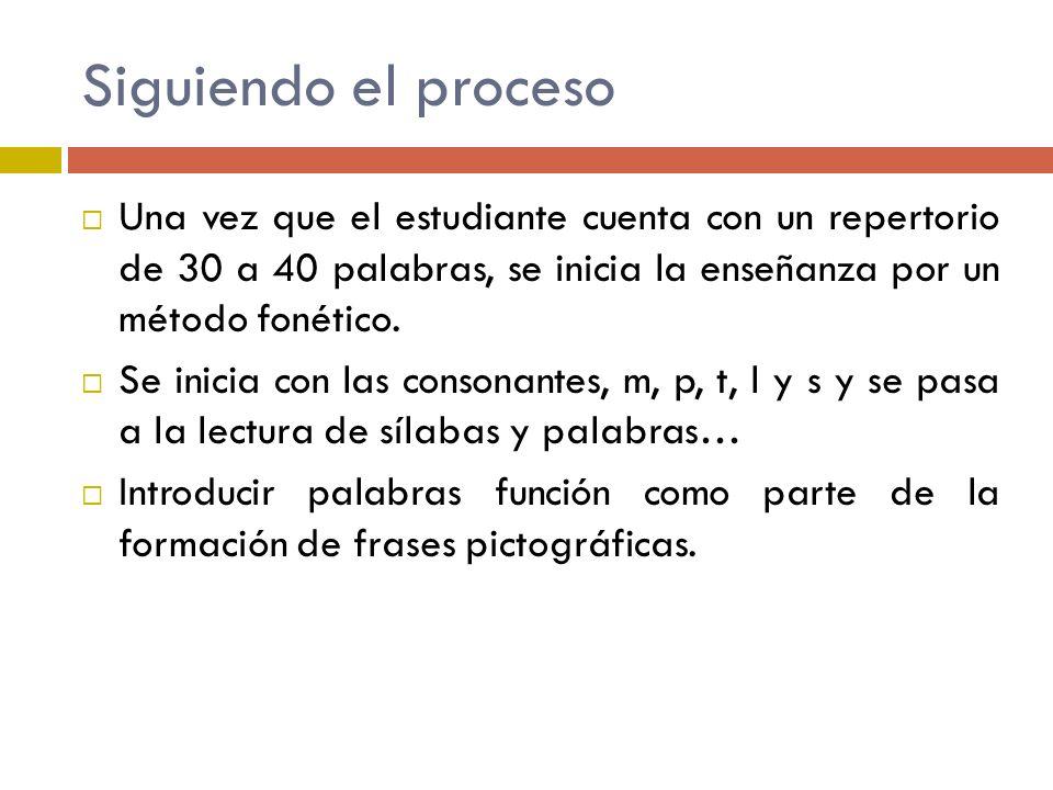 Siguiendo el proceso Una vez que el estudiante cuenta con un repertorio de 30 a 40 palabras, se inicia la enseñanza por un método fonético. Se inicia