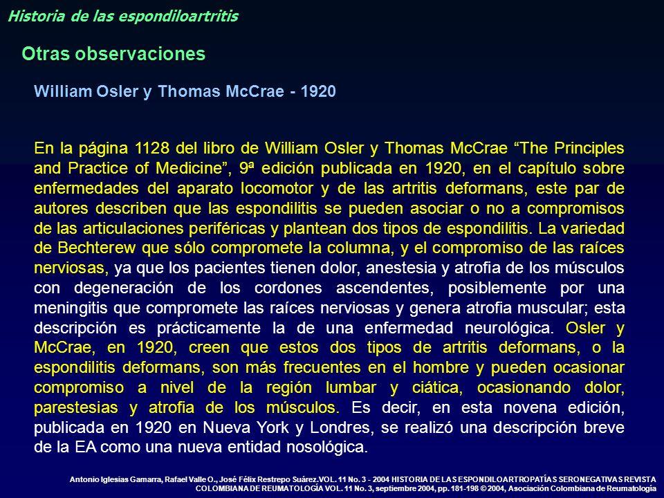 En la página 1128 del libro de William Osler y Thomas McCrae The Principles and Practice of Medicine, 9ª edición publicada en 1920, en el capítulo sob