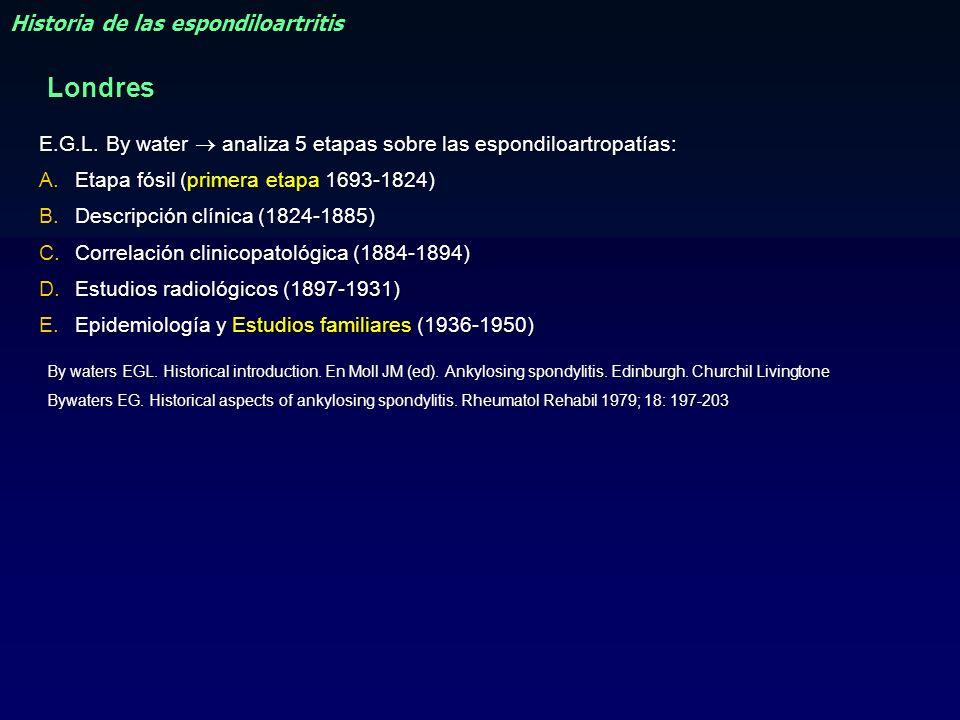 E.G.L. By water analiza 5 etapas sobre las espondiloartropatías: A.Etapa fósil (primera etapa 1693-1824) B.Descripción clínica (1824-1885) C.Correlaci