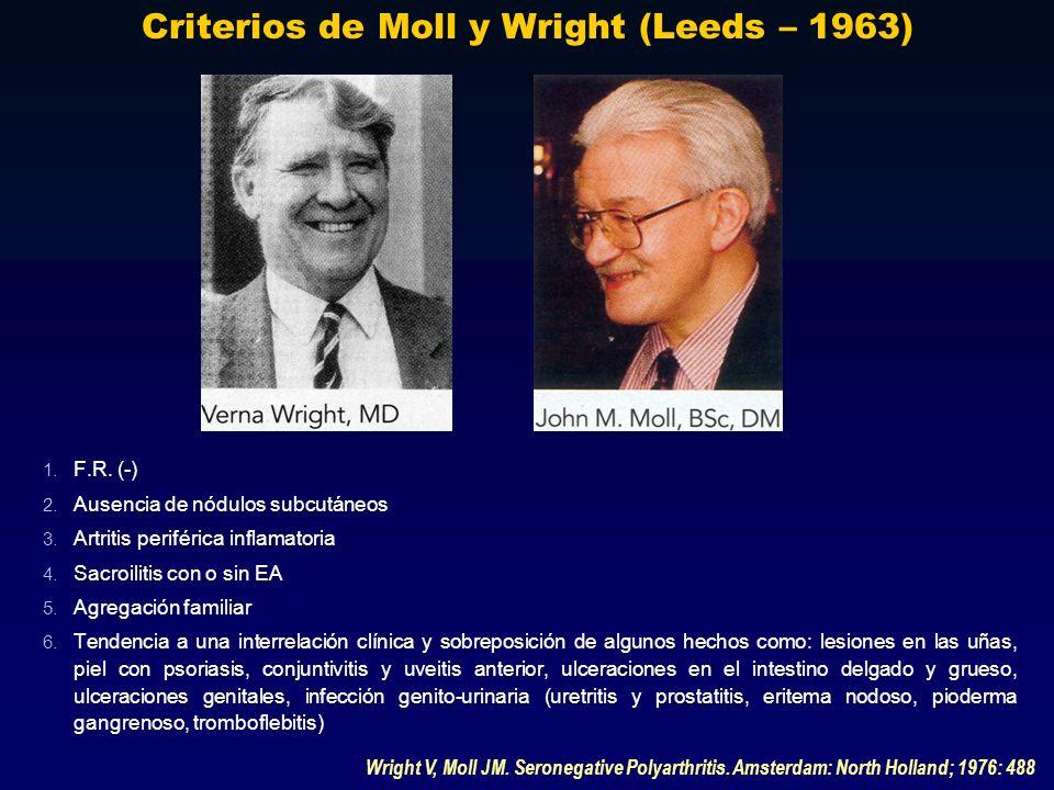 Criterios de Moll y Wright (Leeds – 1963) Wright V, Moll JM. Seronegative Polyarthritis. Amsterdam: North Holland; 1976: 488 1. F.R. (-) 2. Ausencia d