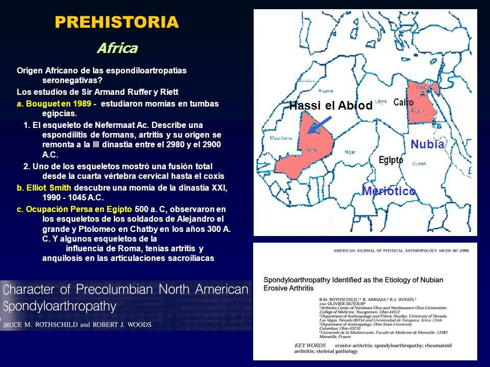 Meriotico Hassi el Abiod Nubia Egipto Cairo Origen Africano de las espondiloartropatías seronegativas? Los estudios de Sir Armand Ruffer y Riett a. Bo