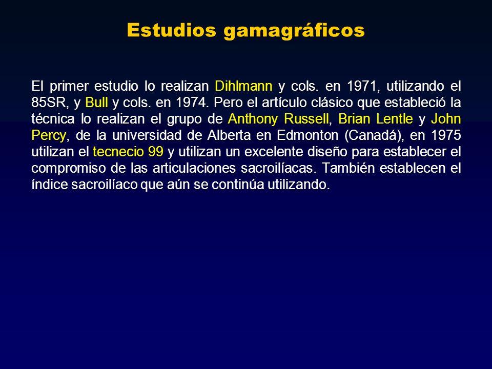 Estudios gamagráficos El primer estudio lo realizan Dihlmann y cols. en 1971, utilizando el 85SR, y Bull y cols. en 1974. Pero el artículo clásico que