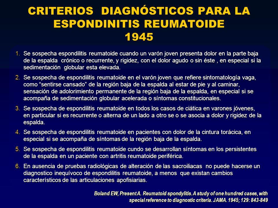 CRITERIOS DIAGNÓSTICOS PARA LA ESPONDINITIS REUMATOIDE 1945 1.Se sospecha espondilitis reumatoide cuando un varón joven presenta dolor en la parte baj