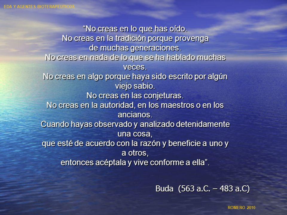 ESTRATEGIAS POTENCIALES PARA EL MANEJO DE LA ENFERMEDAD DIARREICA MEJORAR LA HIGIENE- NO ES SUFICIENTE MEJORAR LA HIGIENE- NO ES SUFICIENTE MEJORAR LA NUTRICIÓN - DISMINUYE LA SEVERIDAD MEJORAR LA NUTRICIÓN - DISMINUYE LA SEVERIDAD - IMPACTO MENOR EN INCIDENCIA ALIMENTACIÓN AL SENO MATERNO ALIMENTACIÓN AL SENO MATERNO - DISMINUYE LA SEVERIDAD E INCIDENCIA - POSPONE LOS ATAQUES INICIALES TERAPIA ORS - MEDIDA TERAPÉUTICA IMPORTANTE TERAPIA ORS - MEDIDA TERAPÉUTICA IMPORTANTE - NO HAY IMPACTO EN LA INCIDENCIA PROBIOTICOS-AGENTES BIOTERAPEUTICOS PROBIOTICOS-AGENTES BIOTERAPEUTICOS VACUNA - MAYOR PRIORIDAD PARA OMS VACUNA - MAYOR PRIORIDAD PARA OMS EDA Y AGENTES BIOTERAPEUTICOS ROMERO 2010