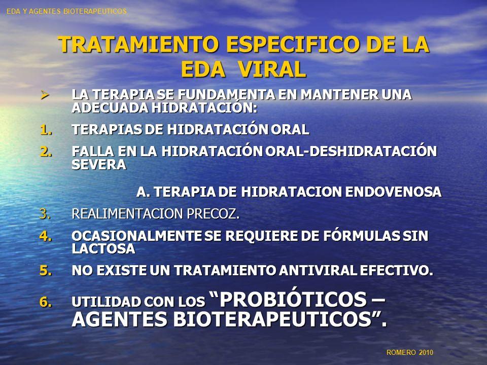 TRATAMIENTO ESPECIFICO DE LA EDA VIRAL LA TERAPIA SE FUNDAMENTA EN MANTENER UNA ADECUADA HIDRATACIÓN: LA TERAPIA SE FUNDAMENTA EN MANTENER UNA ADECUAD