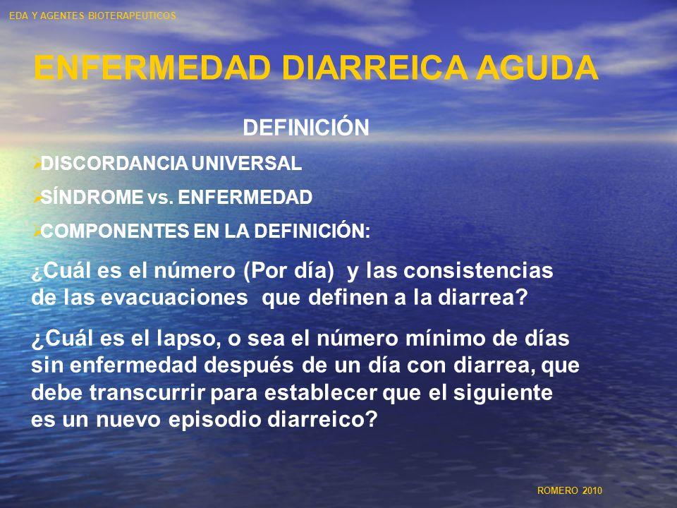 ENFERMEDAD DIARREICA AGUDA DEFINICIÓN DISCORDANCIA UNIVERSAL SÍNDROME vs. ENFERMEDAD COMPONENTES EN LA DEFINICIÓN: ¿ Cuál es el número (Por día) y las