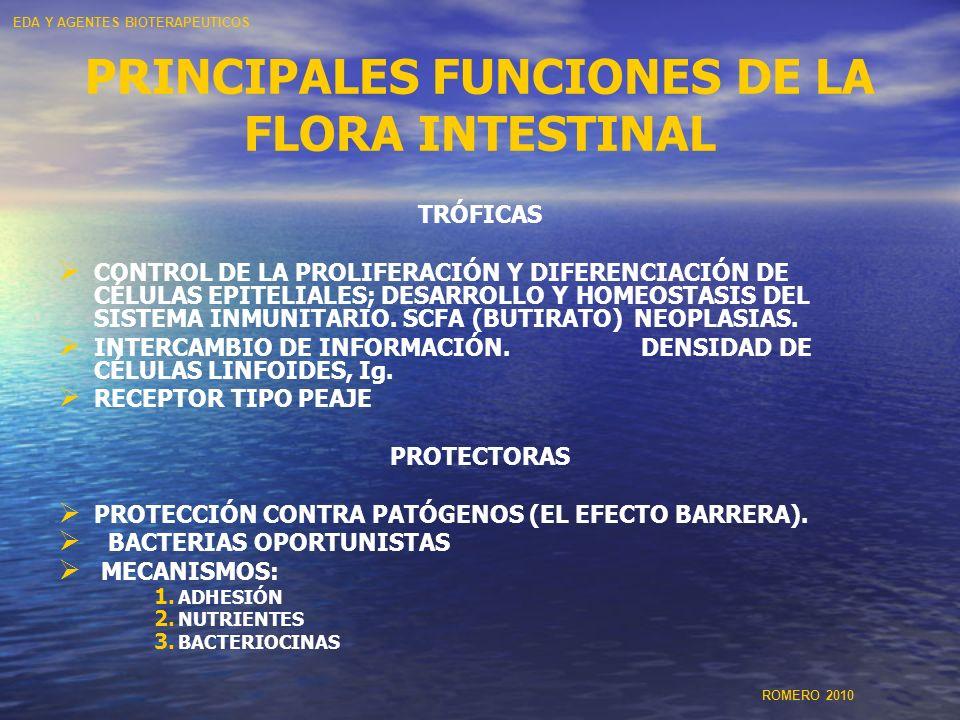 PRINCIPALES FUNCIONES DE LA FLORA INTESTINAL TRÓFICAS CONTROL DE LA PROLIFERACIÓN Y DIFERENCIACIÓN DE CÉLULAS EPITELIALES; DESARROLLO Y HOMEOSTASIS DE