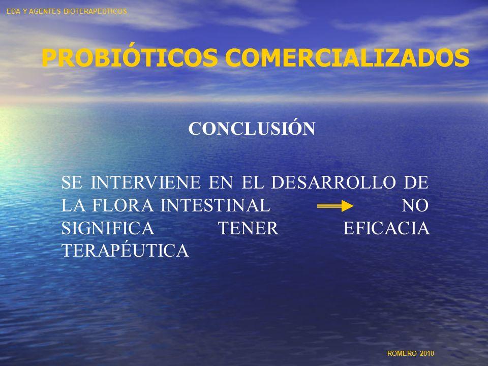 CONCLUSIÓN SE INTERVIENE EN EL DESARROLLO DE LA FLORA INTESTINAL NO SIGNIFICA TENER EFICACIA TERAPÉUTICA PROBIÓTICOS COMERCIALIZADOS EDA Y AGENTES BIO