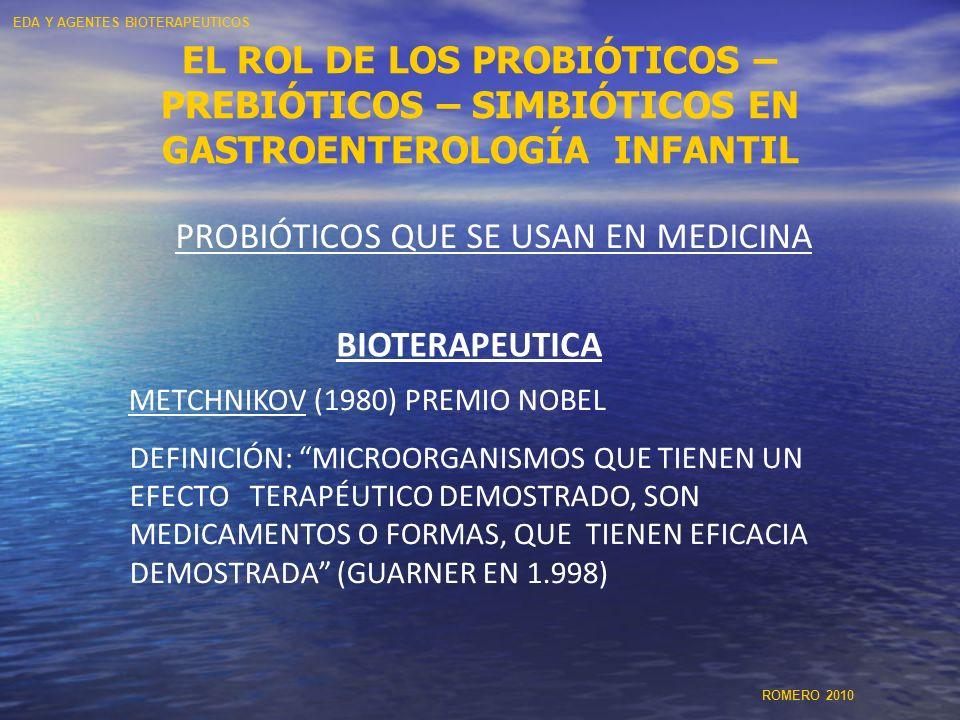 EL ROL DE LOS PROBIÓTICOS – PREBIÓTICOS – SIMBIÓTICOS EN GASTROENTEROLOGÍA INFANTIL PROBIÓTICOS QUE SE USAN EN MEDICINA BIOTERAPEUTICA METCHNIKOV (198