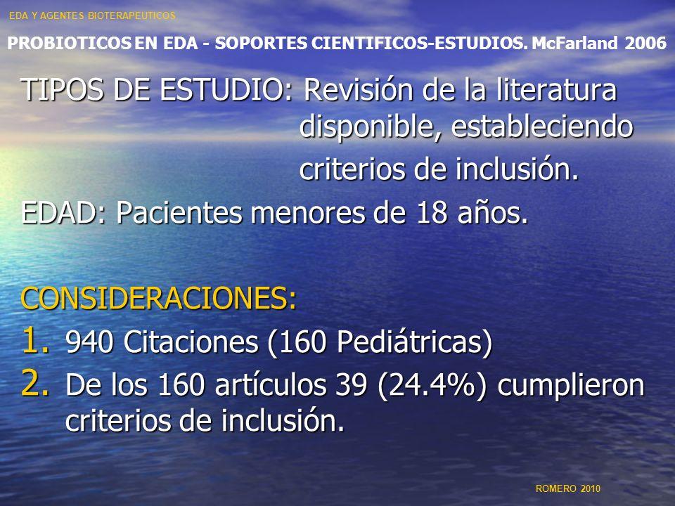 PROBIOTICOS EN EDA - SOPORTES CIENTIFICOS-ESTUDIOS. McFarland 2006 TIPOS DE ESTUDIO: Revisión de la literatura disponible, estableciendo criterios de