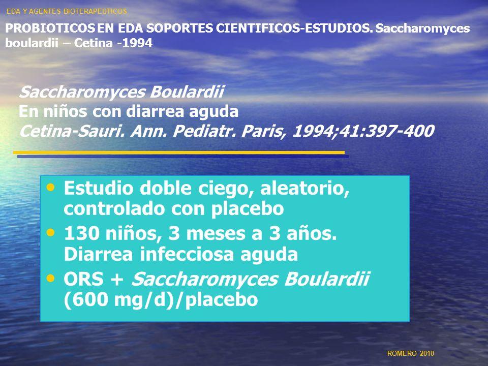 Estudio doble ciego, aleatorio, controlado con placebo 130 niños, 3 meses a 3 años. Diarrea infecciosa aguda ORS + Saccharomyces Boulardii (600 mg/d)/