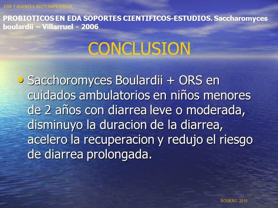 CONCLUSION Sacchoromyces Boulardii + ORS en cuidados ambulatorios en niños menores de 2 años con diarrea leve o moderada, disminuyo la duracion de la