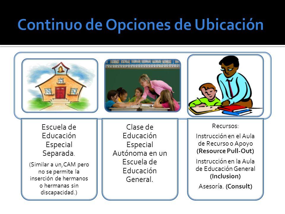 Escuela de Educación Especial Separada. (Similar a un,CAM pero no se permite la inserción de hermanos o hermanas sin discapacidad.) Clase de Educación