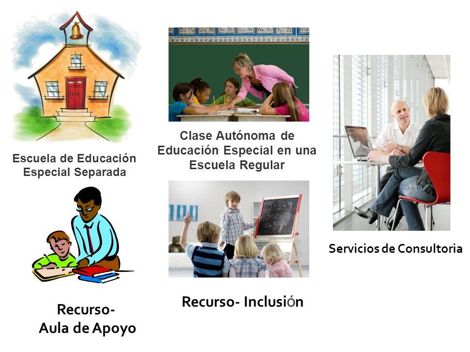 Escuela de Educación Especial Separada Clase Autónoma de Educación Especial en una Escuela Regular Recurso- Inclusi ó n Recurso- Aula de Apoyo Servicios de Consultoria