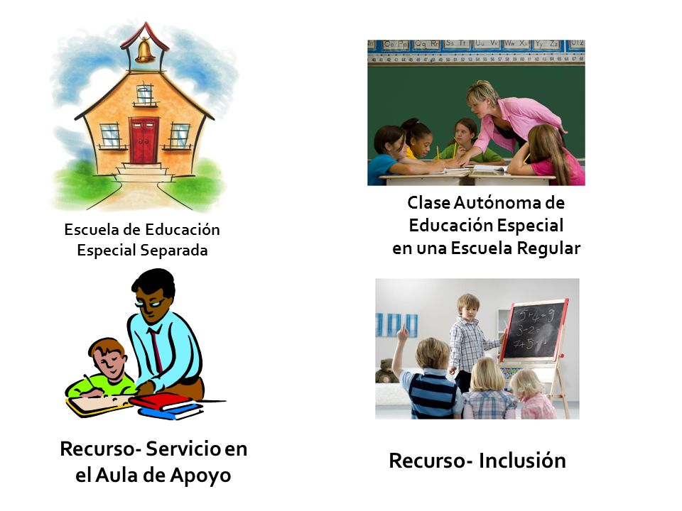 Escuela de Educación Especial Separada Clase Autónoma de Educación Especial en una Escuela Regular Recurso- Inclusión Recurso- Servicio en el Aula de Apoyo
