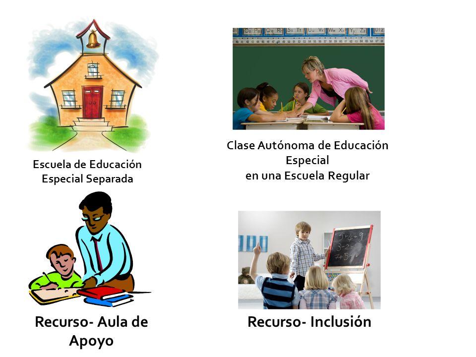 Escuela de Educación Especial Separada Clase Autónoma de Educación Especial en una Escuela Regular Recurso- InclusiónRecurso- Aula de Apoyo