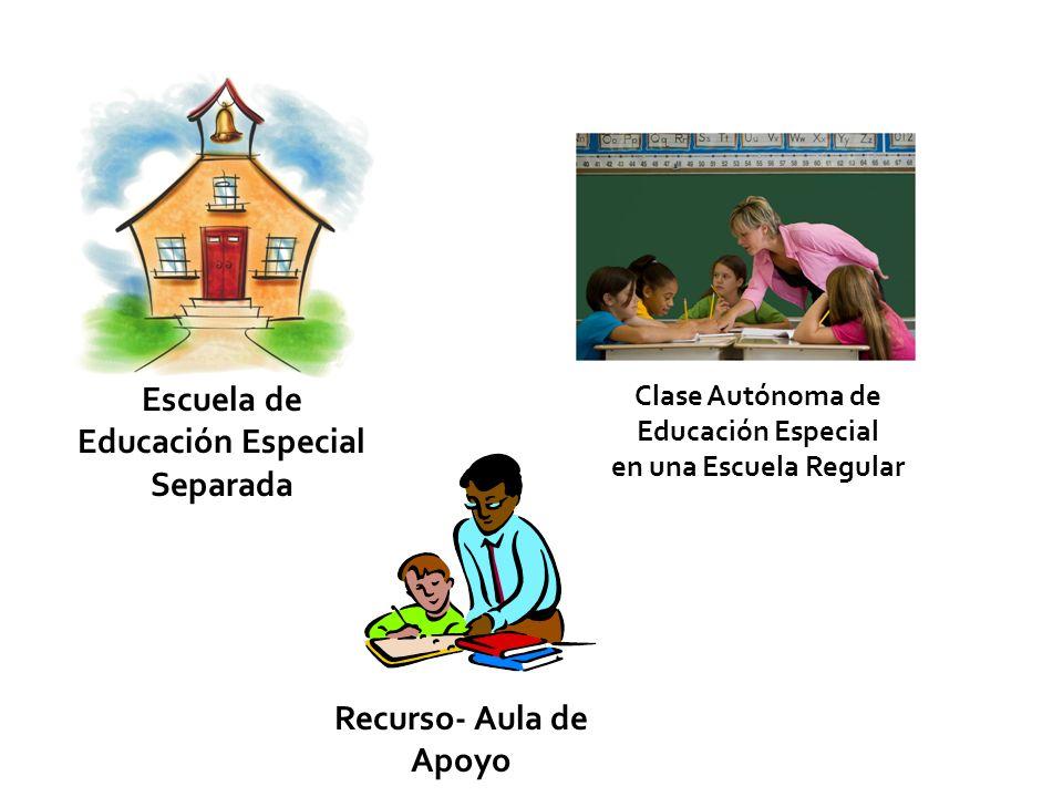 Escuela de Educación Especial Separada Clase Autónoma de Educación Especial en una Escuela Regular Recurso- Aula de Apoyo