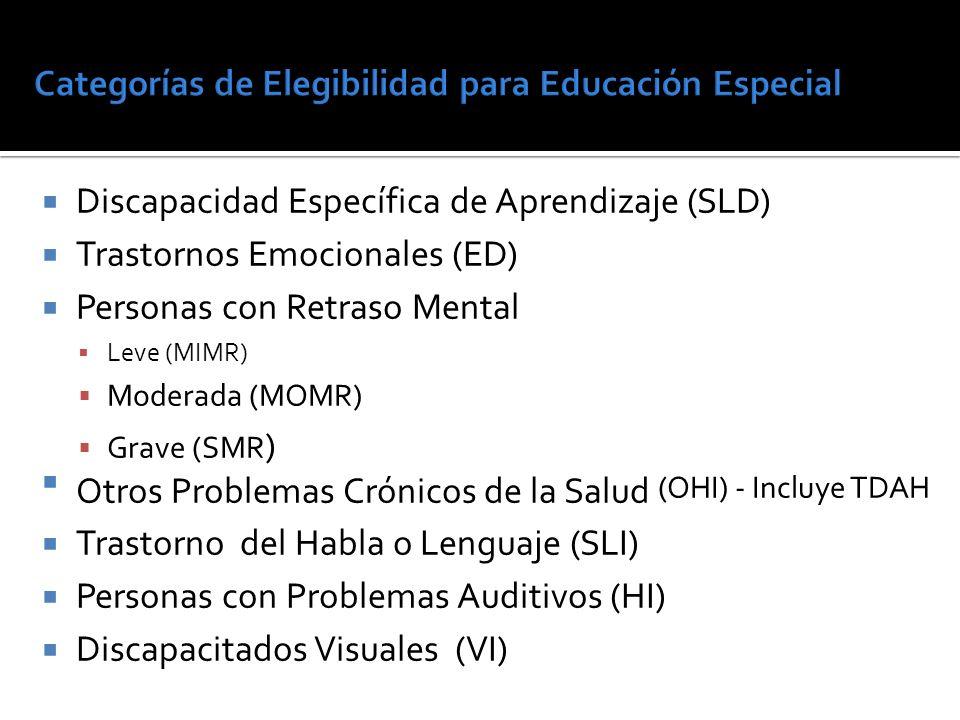 Discapacidad Específica de Aprendizaje (SLD) Trastornos Emocionales (ED) Personas con Retraso Mental Leve (MIMR) Moderada (MOMR) Grave (SMR ) Otros Problemas Crónicos de la Salud (OHI) - Incluye TDAH Trastorno del Habla o Lenguaje (SLI) Personas con Problemas Auditivos (HI) Discapacitados Visuales (VI)