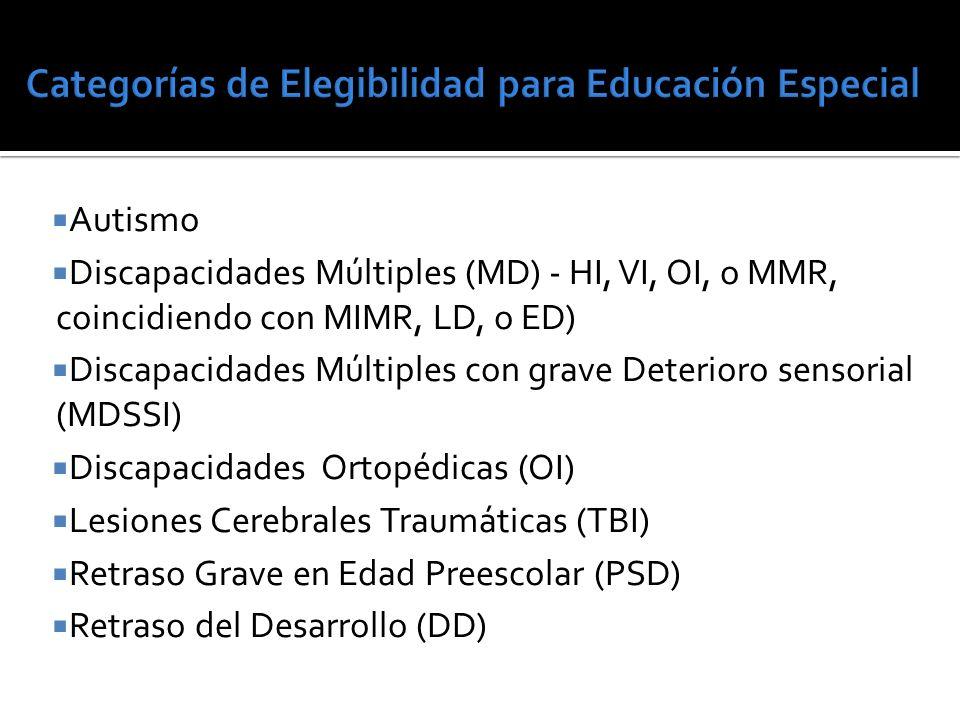 Autismo Discapacidades Múltiples (MD) - HI, VI, OI, o MMR, coincidiendo con MIMR, LD, o ED) Discapacidades Múltiples con grave Deterioro sensorial (MDSSI) Discapacidades Ortopédicas (OI) Lesiones Cerebrales Traumáticas (TBI) Retraso Grave en Edad Preescolar (PSD) Retraso del Desarrollo (DD)