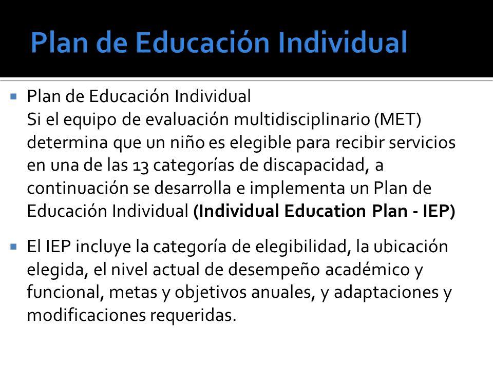 Plan de Educación Individual Si el equipo de evaluación multidisciplinario (MET) determina que un niño es elegible para recibir servicios en una de las 13 categorías de discapacidad, a continuación se desarrolla e implementa un Plan de Educación Individual (Individual Education Plan - IEP) El IEP incluye la categoría de elegibilidad, la ubicación elegida, el nivel actual de desempeño académico y funcional, metas y objetivos anuales, y adaptaciones y modificaciones requeridas.