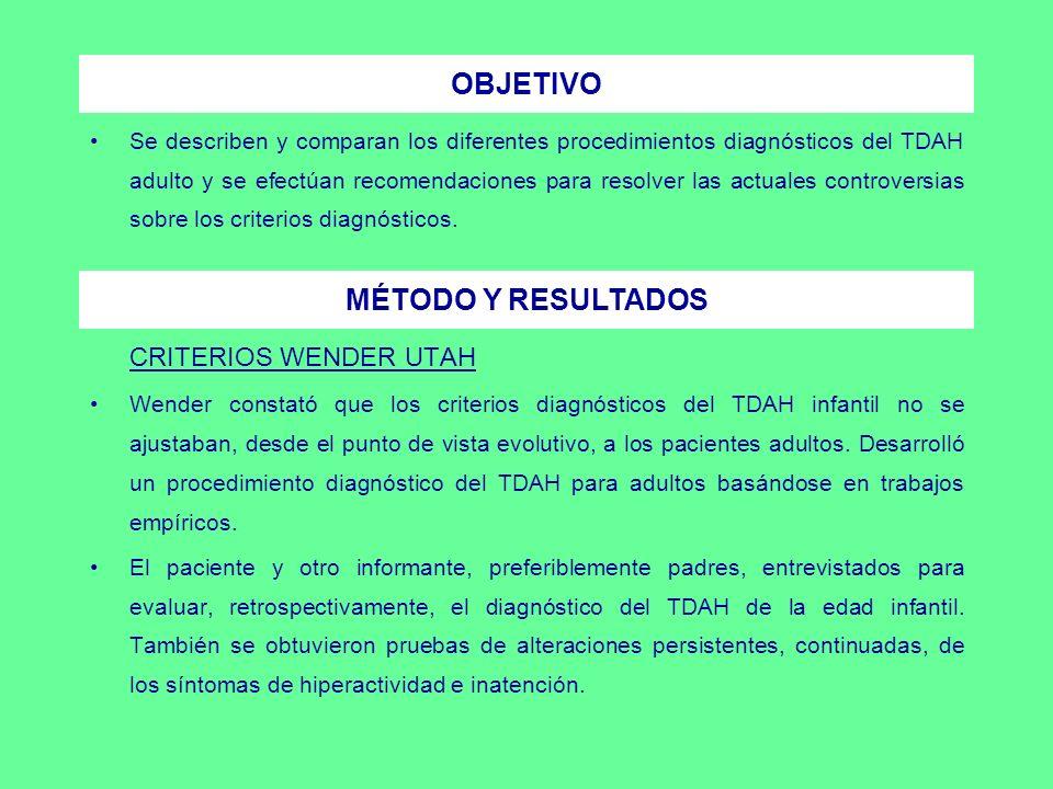 Se propusieron 7 grupos sintomáticos para caracterizar la fenomenología del TDAH adulto.