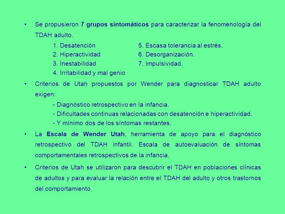 Se propusieron 7 grupos sintomáticos para caracterizar la fenomenología del TDAH adulto. 1. Desatención5. Escasa tolerancia al estrés. 2. Hiperactivid