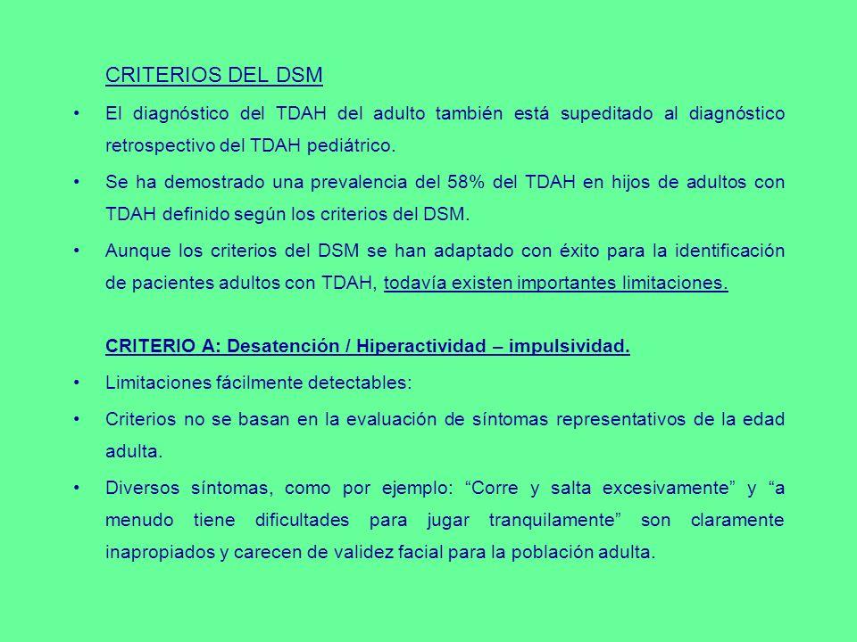 CRITERIOS DEL DSM El diagnóstico del TDAH del adulto también está supeditado al diagnóstico retrospectivo del TDAH pediátrico. Se ha demostrado una pr