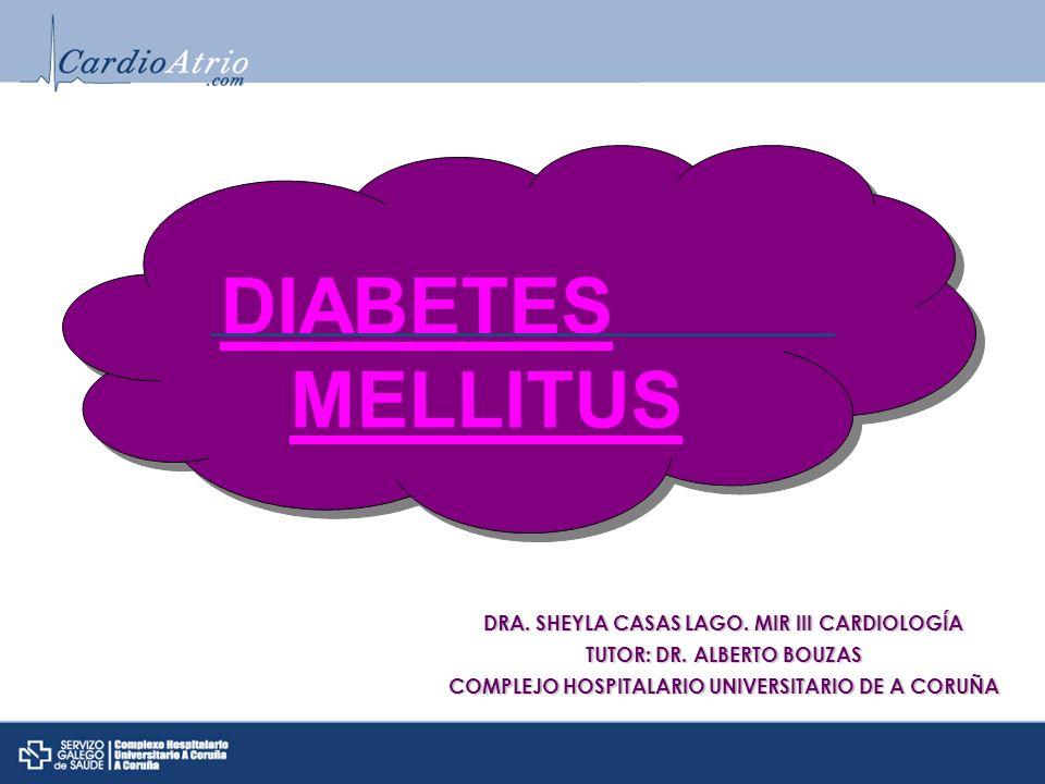DM: Diagnóstico Glucemia en ayunas 126 mg/dL Glucemia 200 mg/dL a las 2 h de SOG Hb A1c 6.5% * Cualquiera de estos 3 primeros criterios deben confirmarse en 2 días diferentes Síntomas clásicos de DM y glucemia al azar 200 mg/dL Diagnosis and Classification of Diabetes Mellitus ADA.