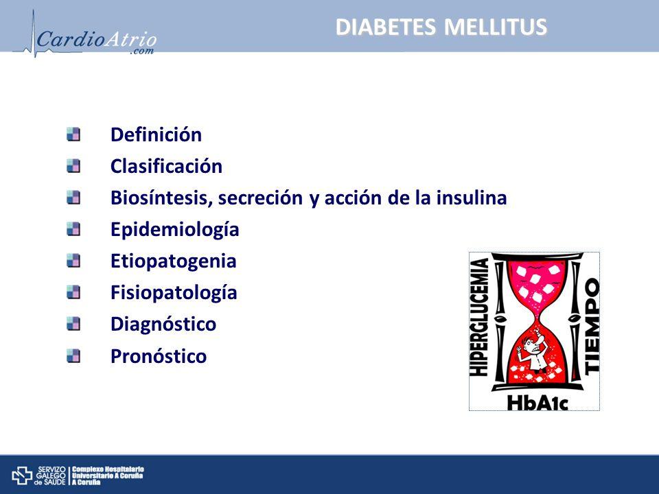 DIABETES MELLITUS: Definición Conjunto heterogéneo de trastornos metabólicos frecuentes cuyo nexo común es la hiperglucemia crónica resultante de: -Defecto en la secreción de la insulina y/o -Defecto en la acción de la insulina La hiperglucemia crónica se asocia a complicaciones a largo plazo, tanto macro como microvasculares: Harrison.