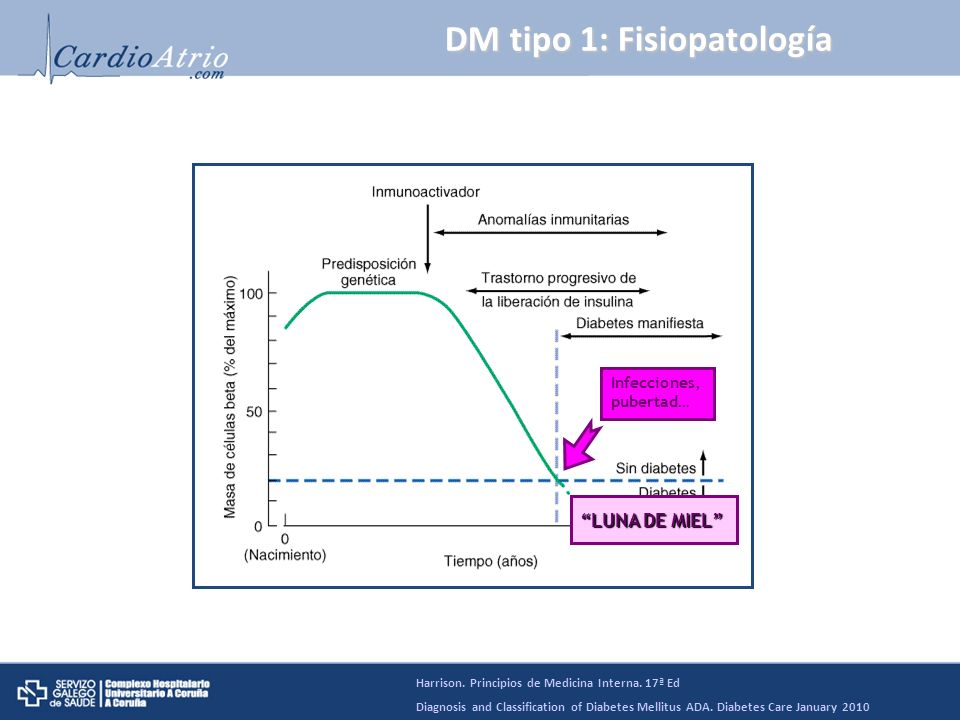 DM tipo 1: Fisiopatología Infecciones, pubertad… LUNA DE MIEL Harrison. Principios de Medicina Interna. 17ª Ed Diagnosis and Classification of Diabete