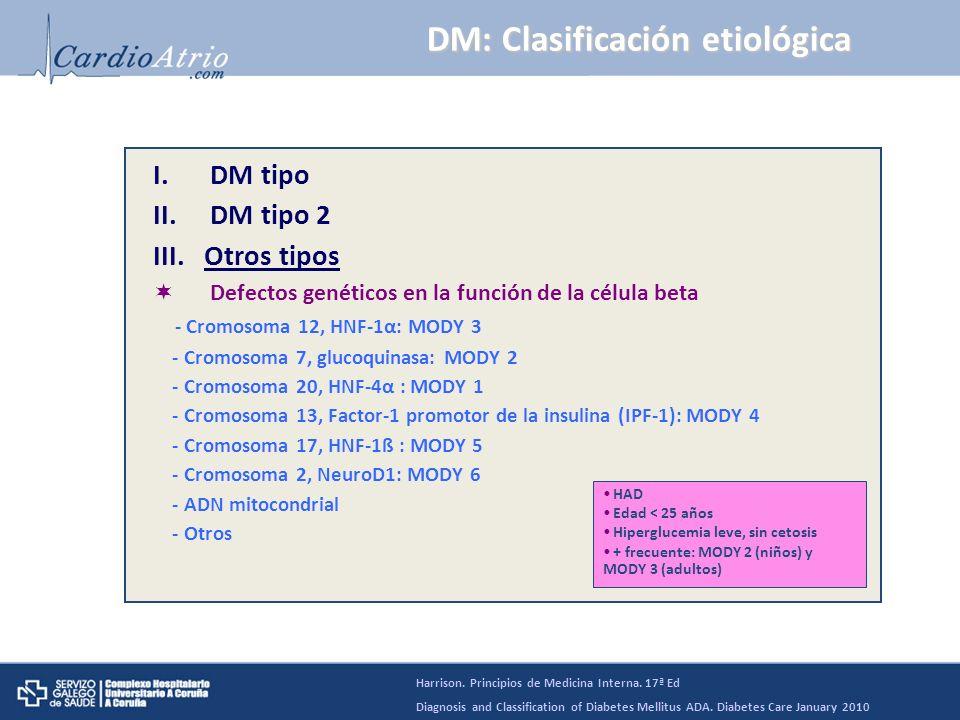 DM tipo 1: Etiopatogenia * Concordancia en gemelos idénticos: 30-70% * Principalmente: región HLA de cromosoma 6 (polimorfismos HLA: 50% del riesgo genético de DM tipo 1) - HLA DR3 y/o HLA DR4 - HLA DQA1*0301, DQB1*0302, DQB1*0201 (40% niños DM tipo 1) - Protectores: HLA DQA1*0102, DQB1*0602 * Otros loci genéticos (ej.