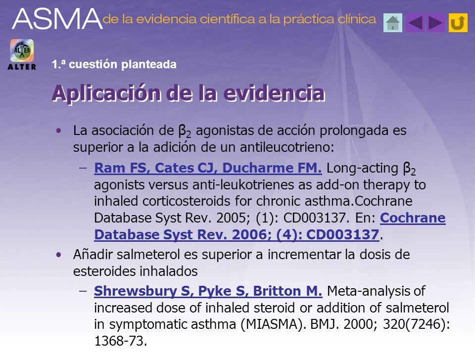 La asociación de β 2 agonistas de acción prolongada es superior a la adición de un antileucotrieno: –Ram FS, Cates CJ, Ducharme FM. Long-acting β 2 ag
