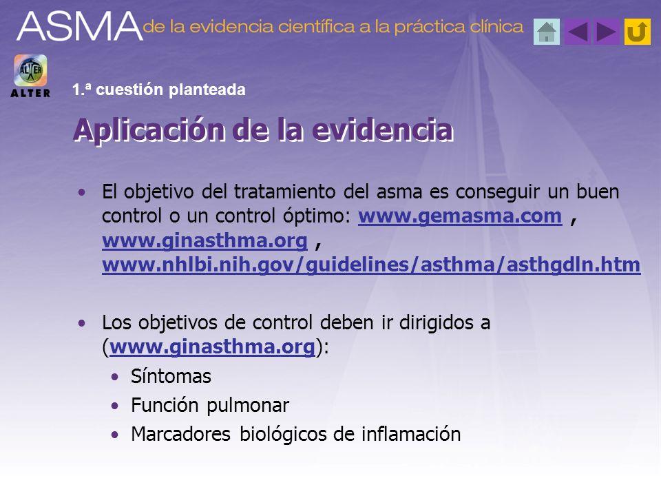 El objetivo del tratamiento del asma es conseguir un buen control o un control óptimo: www.gemasma.com, www.ginasthma.org, www.nhlbi.nih.gov/guideline