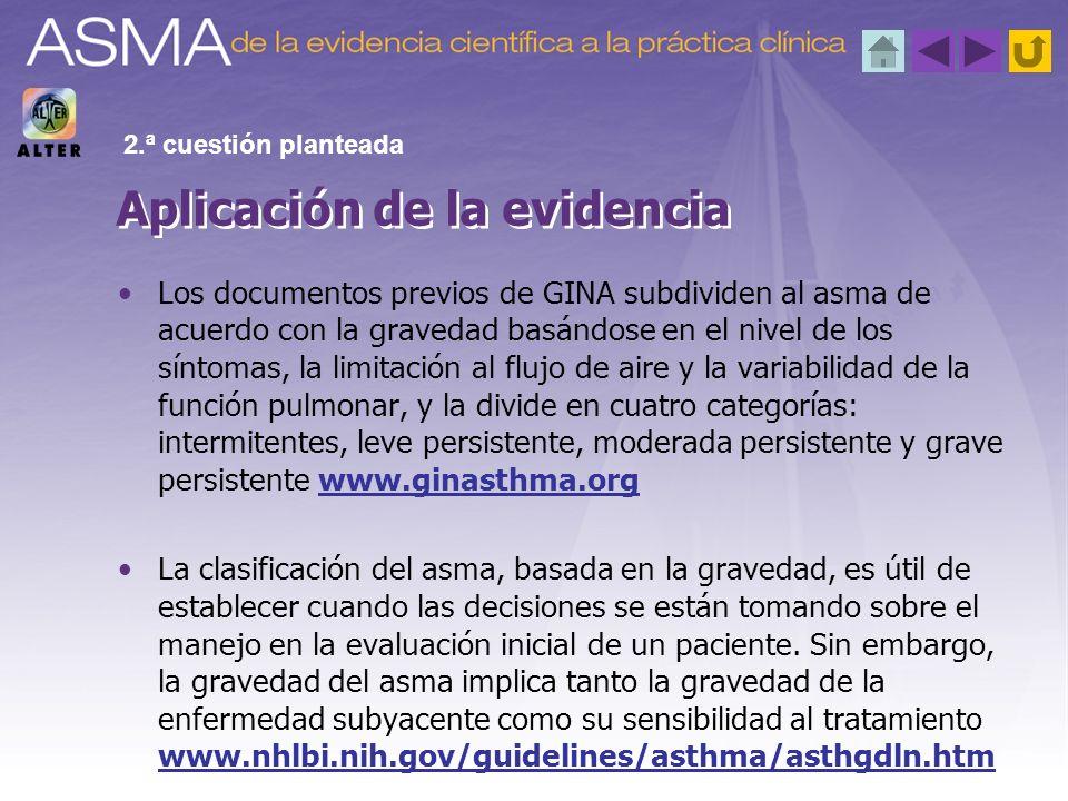 Los documentos previos de GINA subdividen al asma de acuerdo con la gravedad basándose en el nivel de los síntomas, la limitación al flujo de aire y l