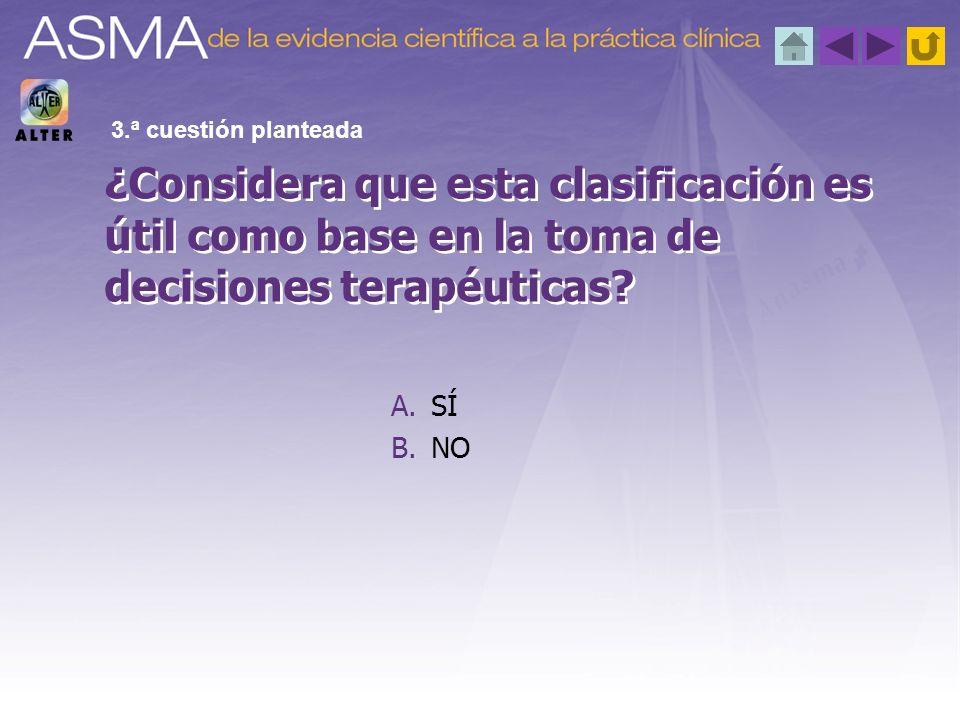 A.SÍ B.NO ¿Considera que esta clasificación es útil como base en la toma de decisiones terapéuticas? 3.ª cuestión planteada