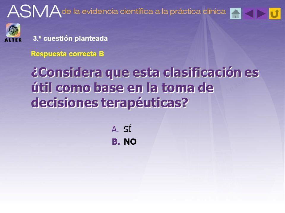 A.SÍ B.NO ¿Considera que esta clasificación es útil como base en la toma de decisiones terapéuticas? 3.ª cuestión planteada Respuesta correcta B