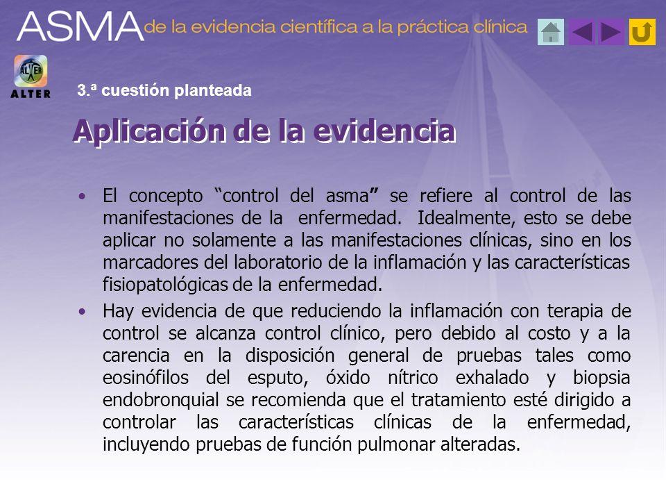 El concepto control del asma se refiere al control de las manifestaciones de la enfermedad. Idealmente, esto se debe aplicar no solamente a las manife