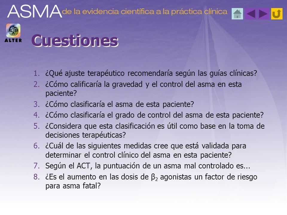 A.Asma leve intermitente totalmente controlada B.Asma leve persistente bien controlada C.Asma moderada persistente bien controlada D.Asma moderada persistente mal controlada ¿Cómo calificaría la gravedad y el control del asma en esta paciente.