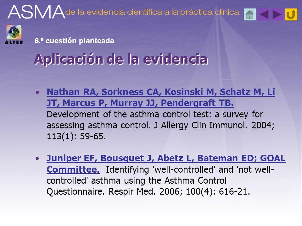 Nathan RA, Sorkness CA, Kosinski M, Schatz M, Li JT, Marcus P, Murray JJ, Pendergraft TB. Development of the asthma control test: a survey for assessi
