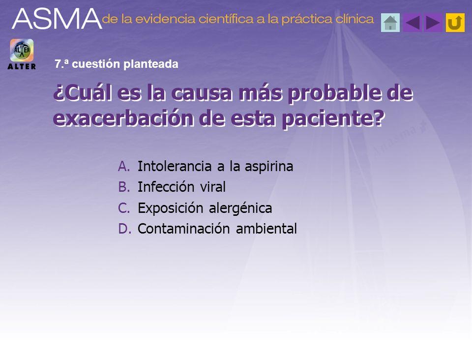 A.Intolerancia a la aspirina B.Infección viral C.Exposición alergénica D.Contaminación ambiental ¿Cuál es la causa más probable de exacerbación de est