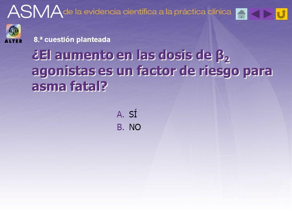 A.SÍ B.NO ¿El aumento en las dosis de β 2 agonistas es un factor de riesgo para asma fatal? 8.ª cuestión planteada
