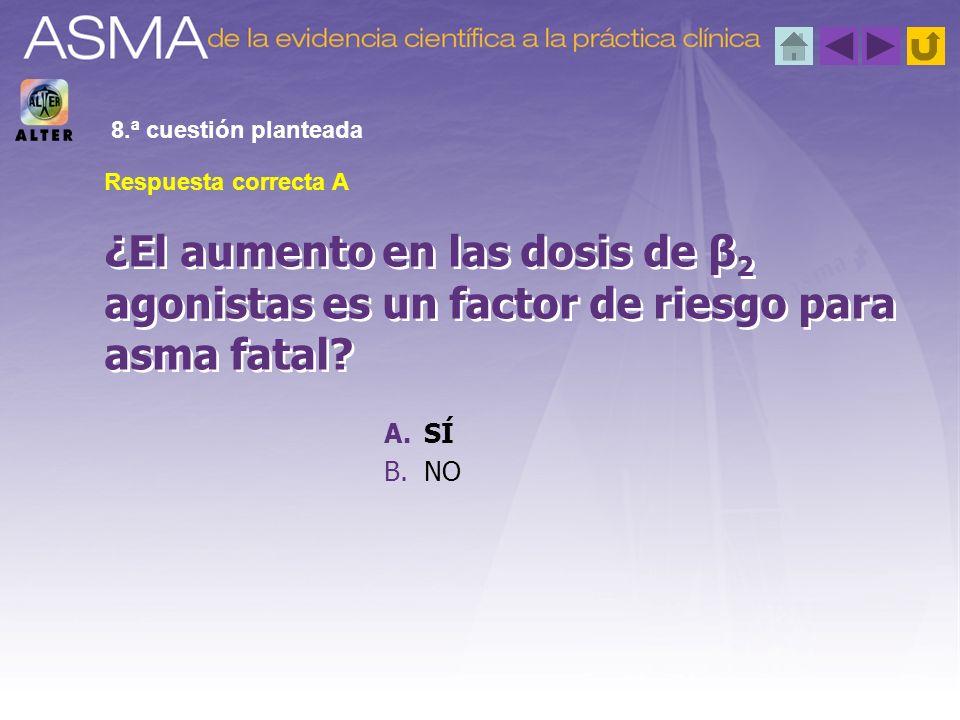 A.SÍ B.NO ¿El aumento en las dosis de β 2 agonistas es un factor de riesgo para asma fatal? 8.ª cuestión planteada Respuesta correcta A