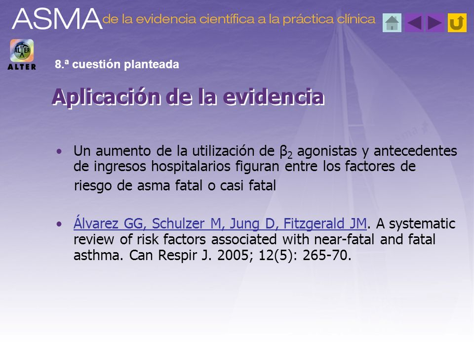 Un aumento de la utilización de β 2 agonistas y antecedentes de ingresos hospitalarios figuran entre los factores de riesgo de asma fatal o casi fatal