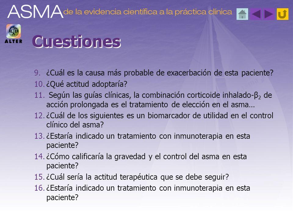 9.¿Cuál es la causa más probable de exacerbación de esta paciente? 10.¿Qué actitud adoptaría? 11. Según las guías clínicas, la combinación corticoide