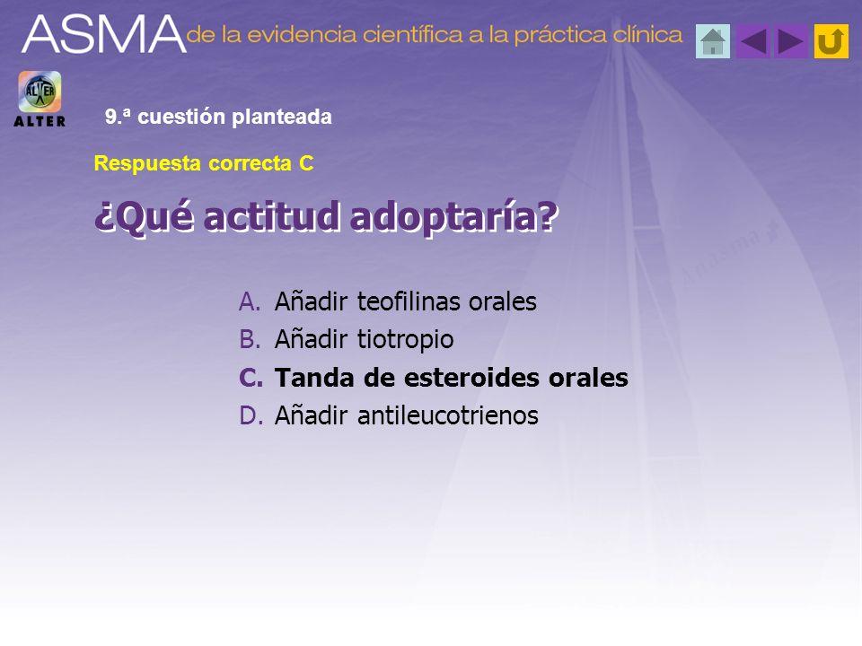 ¿Qué actitud adoptaría? 9.ª cuestión planteada Respuesta correcta C A.Añadir teofilinas orales B.Añadir tiotropio C.Tanda de esteroides orales D.Añadi