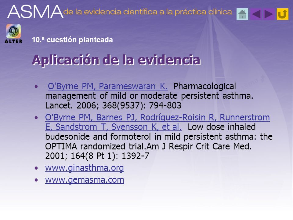 O'Byrne PM, Parameswaran K. Pharmacological management of mild or moderate persistent asthma. Lancet. 2006; 368(9537): 794-803O'Byrne PM, Parameswaran