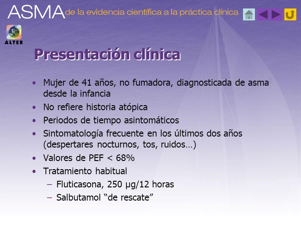 Visita no programada a la consulta de Neumología Refiere diez días con aumento de síntomas, que se hacen diarios y con despertares nocturnos (dos veces en este tiempo) Utilización de salbutamol (3-4 veces/día/10 días) FEV 1 : 1.800 ml- 68% Puntuación test control asma (ACT): 16 FENO: 34 ppm Situación actual