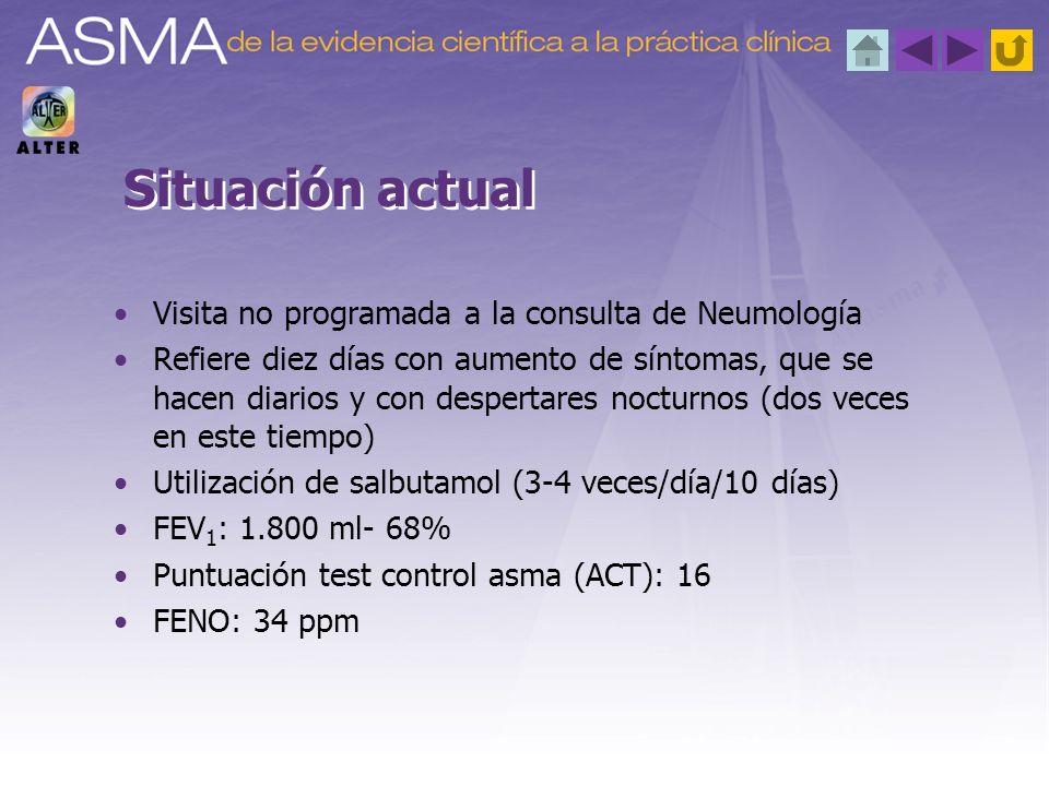 Visita no programada a la consulta de Neumología Refiere diez días con aumento de síntomas, que se hacen diarios y con despertares nocturnos (dos vece